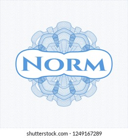 Light blue passport rossete with text Norm inside