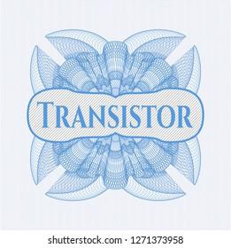Light blue passport style rosette with text Transistor inside