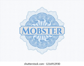 Light blue passport style rossete with text Mobster inside