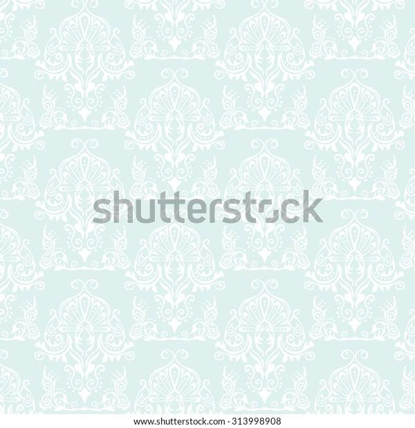 Light Blue Pattern Damask Wallpaper Interior Stock Vector Royalty