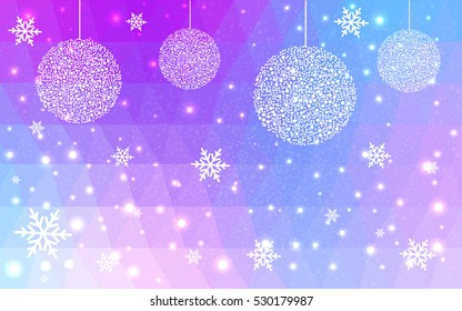 Light blue, pink christmas postcard low polygon background. Vector illustration consisting of triangles. Abstract triangular polygonal origami or crystal design of New Year celebration.
