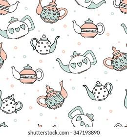 light blue and pink colored set of four cute teapots, hand drawn seamless pattern