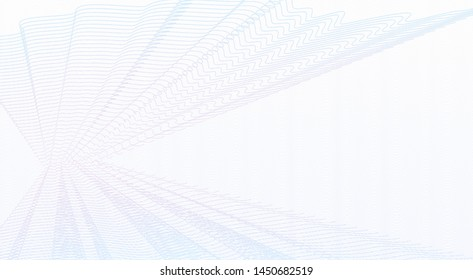 Light blue, pink vector watermark. Guilloche art line design. Abstract colored cheque, ticket, banner, certificate backdrop. Ripple thin pastel curves. White background. Pleated net imitation. EPS10