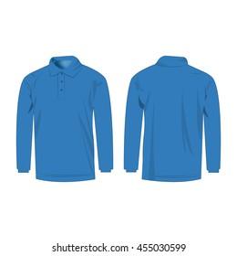 Light blue polo with long sleeve isolated vector