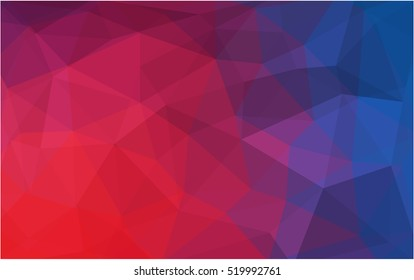 Light blue, red polygonal background. Creative geometric illustration in Origami style with gradient. A new texture for your design.