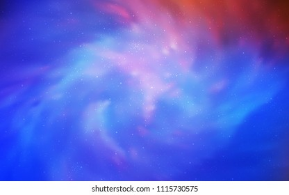 Light Blue, Red vector background with galaxy stars. Blurred decorative design in simple style with galaxy stars. Pattern for astrology websites.