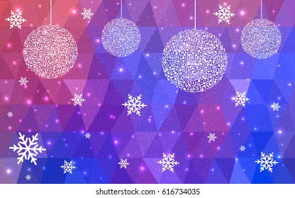 Light Blue Red vector christmas polygon background. Low poly Illustration consisting of triangles with snowflakes. Texture, seamless background of New Year celebration.