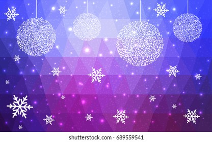 Light Blue Red vector christmas postcard low polygon background. Illustration consisting of triangles. Abstract triangular polygonal origami or crystal design of New Year celebration.