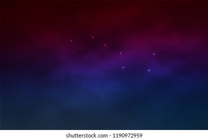 Light Blue, Red vector layout with cosmic stars. Space stars on blurred abstract background with gradient. Pattern for futuristic ad, booklets.