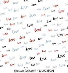 Light Blue, Red vector seamless background with words of love. Decorative illustration with words of love in abstract style. Texture for window blinds, curtains.
