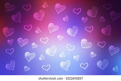 Light Blue, Red vector template with doodle hearts. Glitter abstract illustration with colorful hearts in romantic style. Pattern can be used for valentine's ad, booklets.