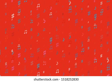 Light Blue, Red vector texture with musical notes. Modern abstract illustration with melody keys. Pattern for websites of musitians.