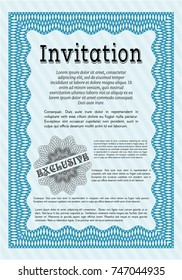 Light blue Retro invitation. With great quality guilloche pattern. Superior design. Detailed.