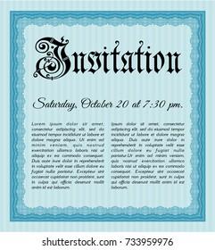 Light blue Retro invitation template. With guilloche pattern and background. Superior design. Vector illustration.