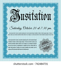 Light blue Retro vintage invitation. Printer friendly. Customizable, Easy to edit and change colors. Perfect design.