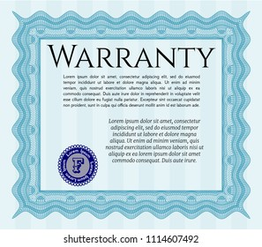 Light blue Retro Warranty Certificate template. With quality background. Vector illustration. Superior design.