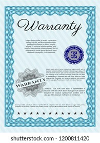 Light blue Retro Warranty Certificate template. Money design. With linear background. Vector illustration.