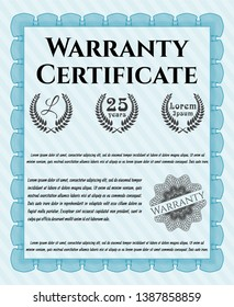 Light blue Retro Warranty Certificate template. With quality background. Vector illustration. Good design.