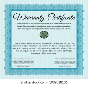 Light blue Retro Warranty template. Good design.  With background.  Customizable, Easy to edit and change colors.
