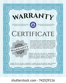 Light blue Retro Warranty template. Excellent design. Complex background. Detailed.