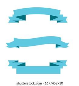 Light blue ribbon banners set. Vector illustration