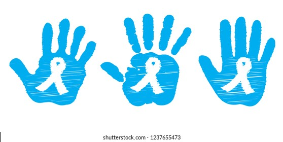 Light blue ribbon (child's) hand ribbon inside Stop Prostate cancer november Vector eps awareness month men day diabetes ribbons dna psa World happy movember  Sign health month No Shave Choose Hope