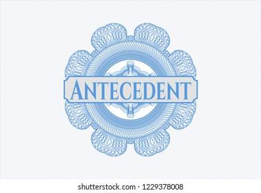 Light blue rosette. Linear Illustration with text Antecedent inside