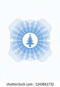 Light blue rosette. Linear Illustration with christmas tree icon inside