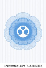 Light blue rosette or money style emblem with couple in love icon inside