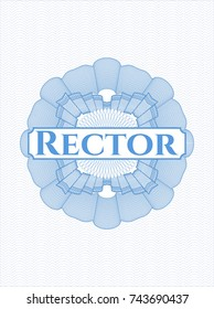 Light blue rosette with text Rector inside