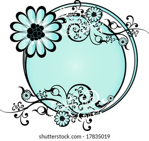 Light blue round background pattern vector illustration with flowers and intricate arabesques