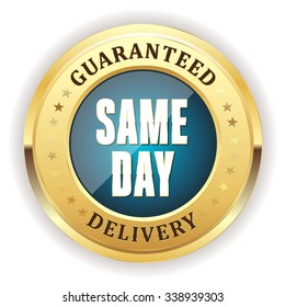 Light blue same day delivery badge with gold border