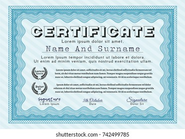 Light blue Sample Certificate. With complex linear background. Vector illustration. Superior design.