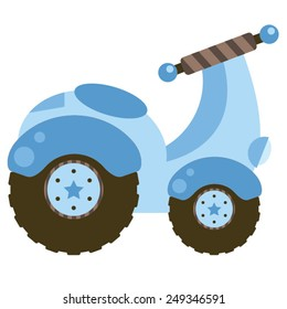Light Blue Scooter | Light baby blue and chocolate brown moped scooter with stars on the wheels with a whimsical striped handlebars.