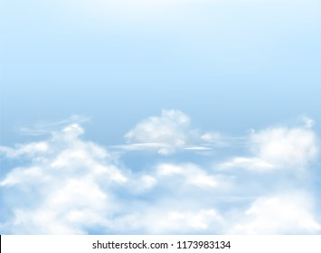 Light blue sky with white clouds, realistic vector background, natural banner with heavens. Template for Christian postcards, religious illustrations