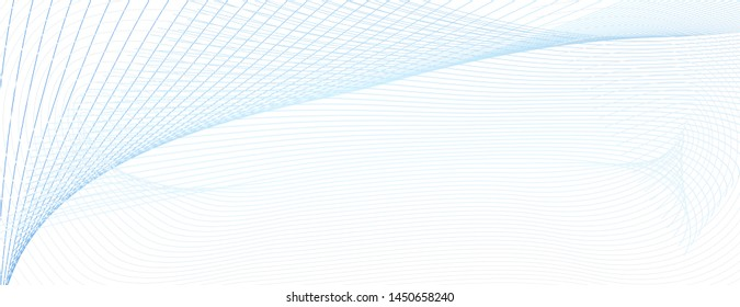 Light blue subtle curves. Watermark line art pattern. Abstract vector colored cheque, ticket, certificate backdrop. Guilloche design. White background. Airy dynamic composition, copy space. EPS10