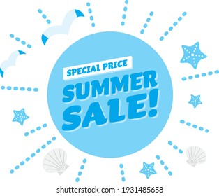 Light blue title design of the summer sale