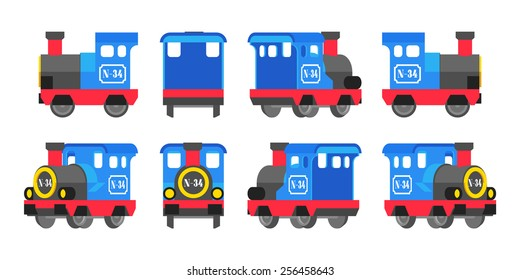 Light blue toy locomotive. The objects are isolated against the white background and shown from different sides