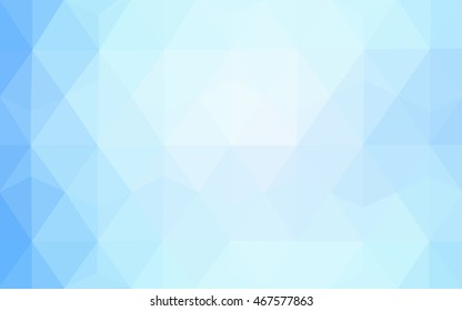 Light blue triangle mosaic pattern. Colorful illustration in abstract style with gradient. Brand-new design for your business.