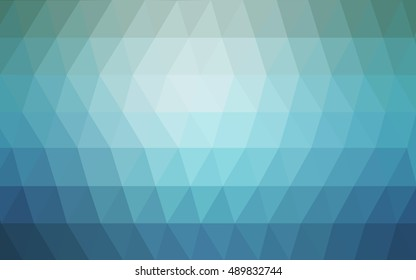 Light blue triangle mosaic template. Brand-new colored illustration in blurry style with gradient. The textured pattern can be used for background.