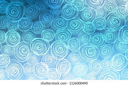 Light BLUE vector abstract doodle wallpaper. Blurred decorative design in Indian style with roses. The elegant pattern can be used as a part of a brand book.