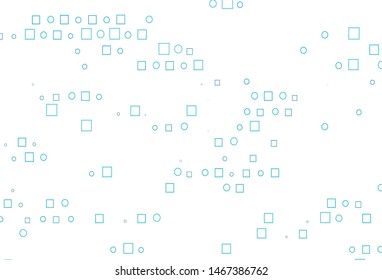Light BLUE vector backdrop with dots, spots, cubes. Decorative design in abstract style with circles, rectangles. Template for your brand book.
