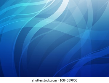 Light BLUE vector background with abstract lines. Blurred geometric sample with gradient bubbles.  Textured wave pattern for backgrounds.