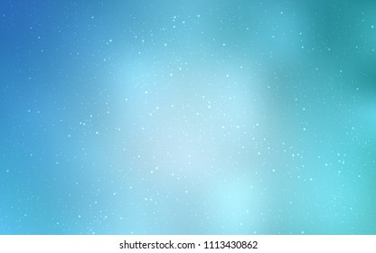 Light BLUE vector background with galaxy stars. Shining illustration with sky stars on abstract template. Best design for your ad, poster, banner.