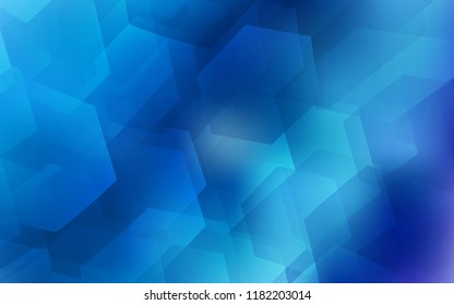 Light BLUE vector background with hexagons. Glitter abstract illustration in hexagonal style. Pattern for ads, leaflets.