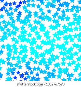 Light BLUE vector background with small and big stars. Colorful illustration in abstract style with gradient stars. Pattern for new year ad, booklets.