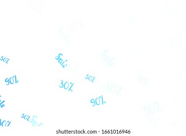 Light BLUE vector background with symbols of 30, 50, 90 % sales. Colored words of sales with gradient on white background. Template for season sales, shopping ads.