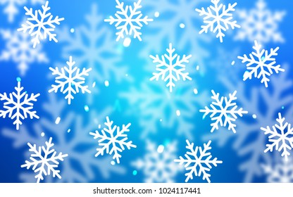 Light BLUE vector background with xmas snowflakes. Glitter abstract illustration with crystals of ice. The pattern can be used for new year ad, booklets.