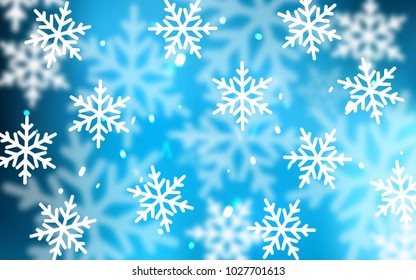 Light BLUE vector background with xmas snowflakes. Shining colored illustration with snow in christmas style. The pattern can be used for new year ad, booklets.