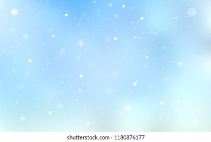 Light BLUE vector background with xmas snowflakes. Snow on blurred abstract background with gradient. New year design for your business advert.